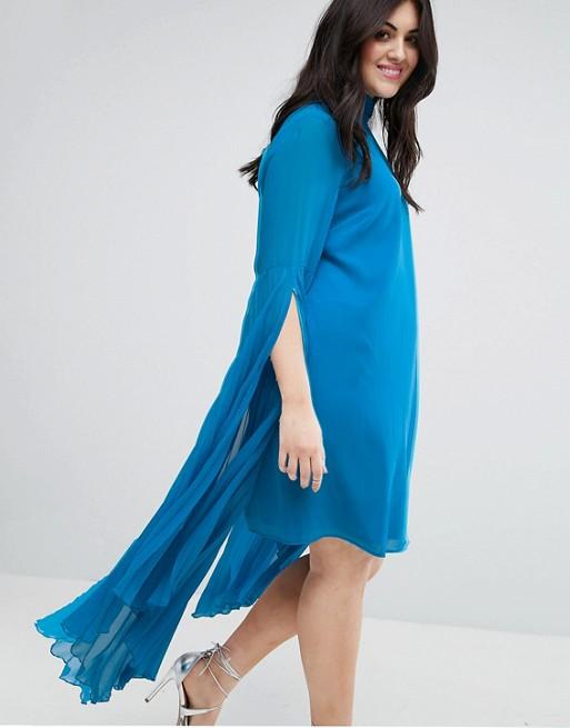 CURVE - Robe droite courte avec manches plissées et longues