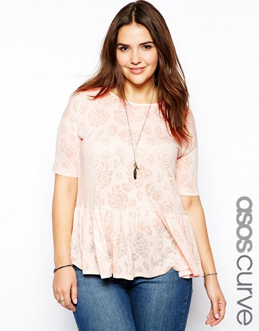 Image 1 of ASOS CURVE T-Shirt With Peplum In Burnout
