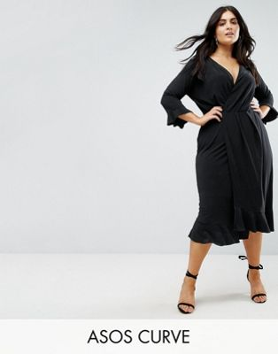 Image 1 of ASOS CURVE Wrap Front Midi Dress With Frill Detail