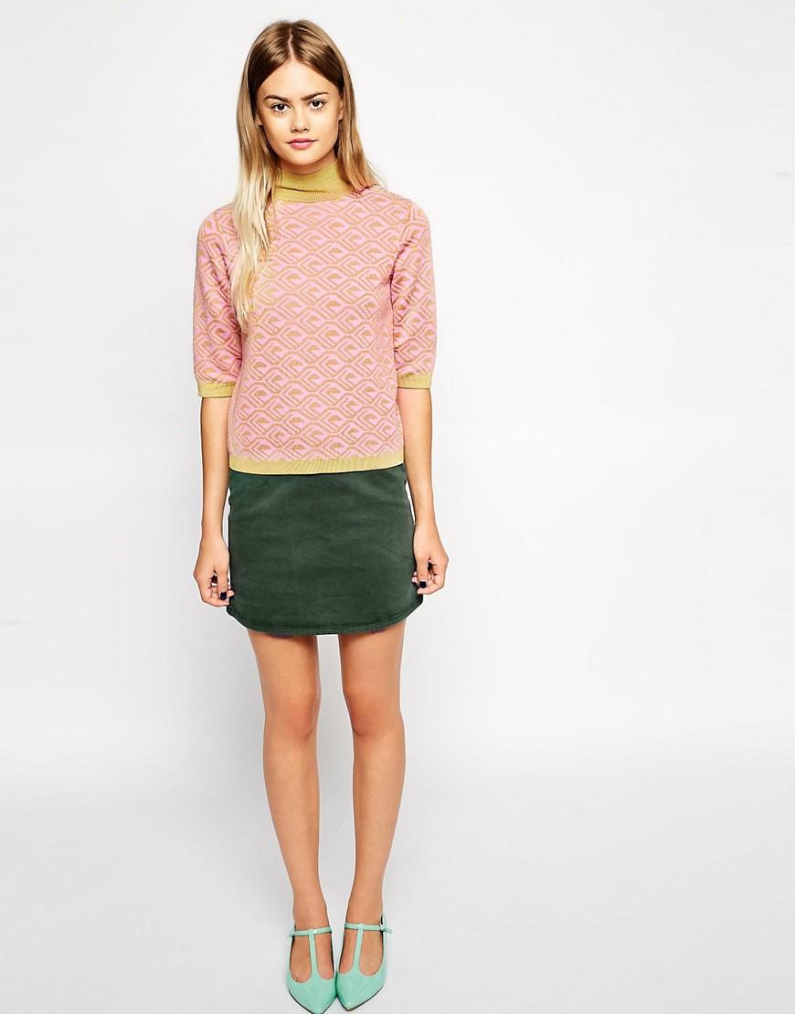 ASOS | ASOS Denim A-Line Skirt in Khaki
