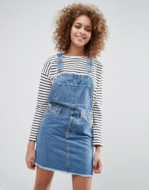 Image result for ASOS DESIGN denim dungaree dress in midwash blue