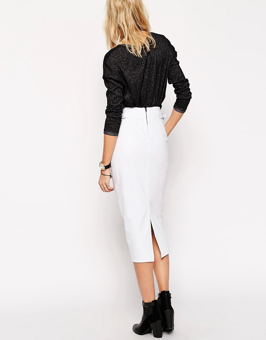 ASOS | ASOS Denim High Waisted Midi Skirt With Rips in White