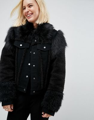 Image 1 of ASOS Denim Jacket in Washed Black with Faux Fur Panels