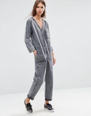 Image 1 of ASOS Denim Workwear Jumpsuit in Mottled Black
