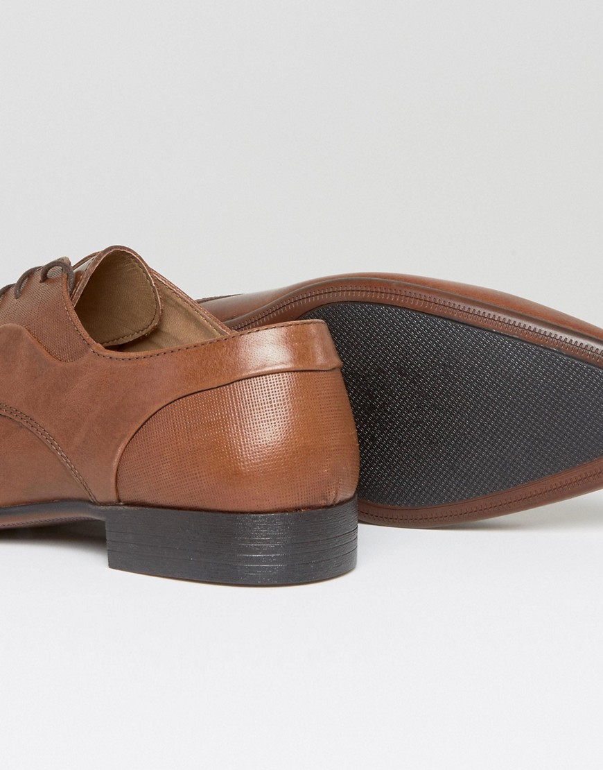 Derby Shoes In Tan Leather With Emboss Detail - Tan Asos