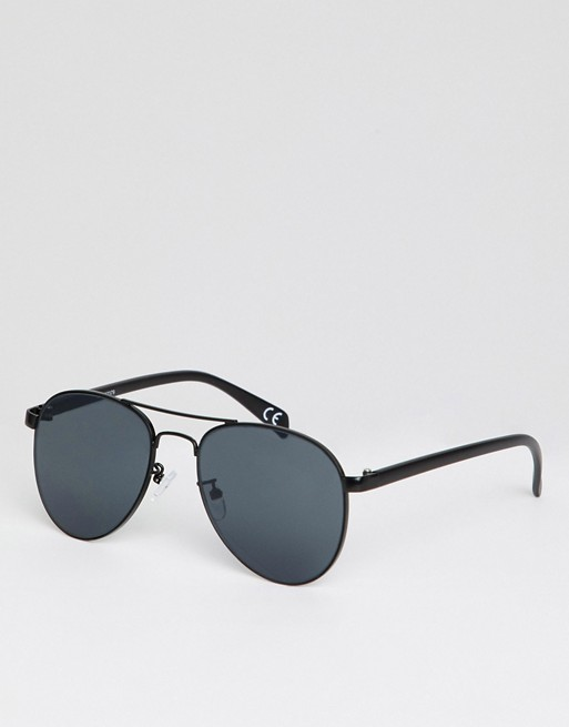 ASOS Smoke With DESIGN Aviator In Metal ASOS Lens Black Sunglasses qq4xHrwC