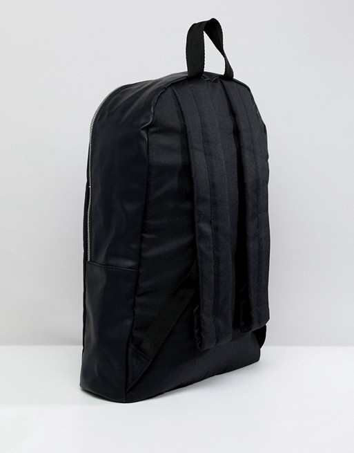 In And DESIGN ASOS Faux Foil With Silver In ASOS Leather Emboss Zips Black Backpack P4twFngq