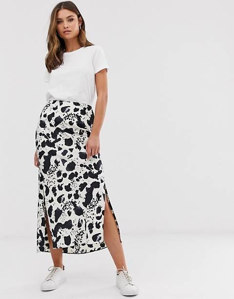 ASOS DESIGN bias satin midi skirt with split in mono splodge print