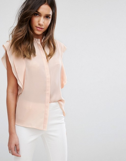 DESIGN blouse with frill shoulder - Blush Asos Cheap Sale Inexpensive Free Shipping Outlet Store Cheap Prices Authentic Footlocker Finishline Sale Online Discount Footlocker Pictures NshNsyv