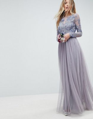 Image 1 of ASOS DESIGN Bridesmaid embroidered mesh maxi dress