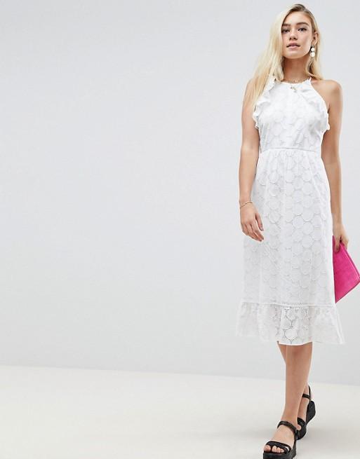 Midi DESIGN Broderie dress open ASOS With back ASOS tHAwT