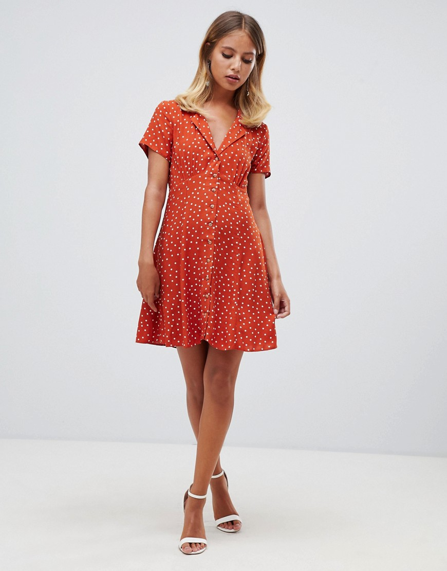 Asos Design Button Through Mini Skater Dress In Rust Spot by Asos Design