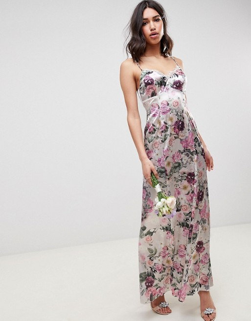 DESIGN cami maxi dress with lace insert in pretty floral print - Floral Asos G4sdfInZU