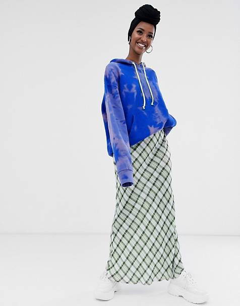 ASOS DESIGN check print bias cut city maxi skirt
