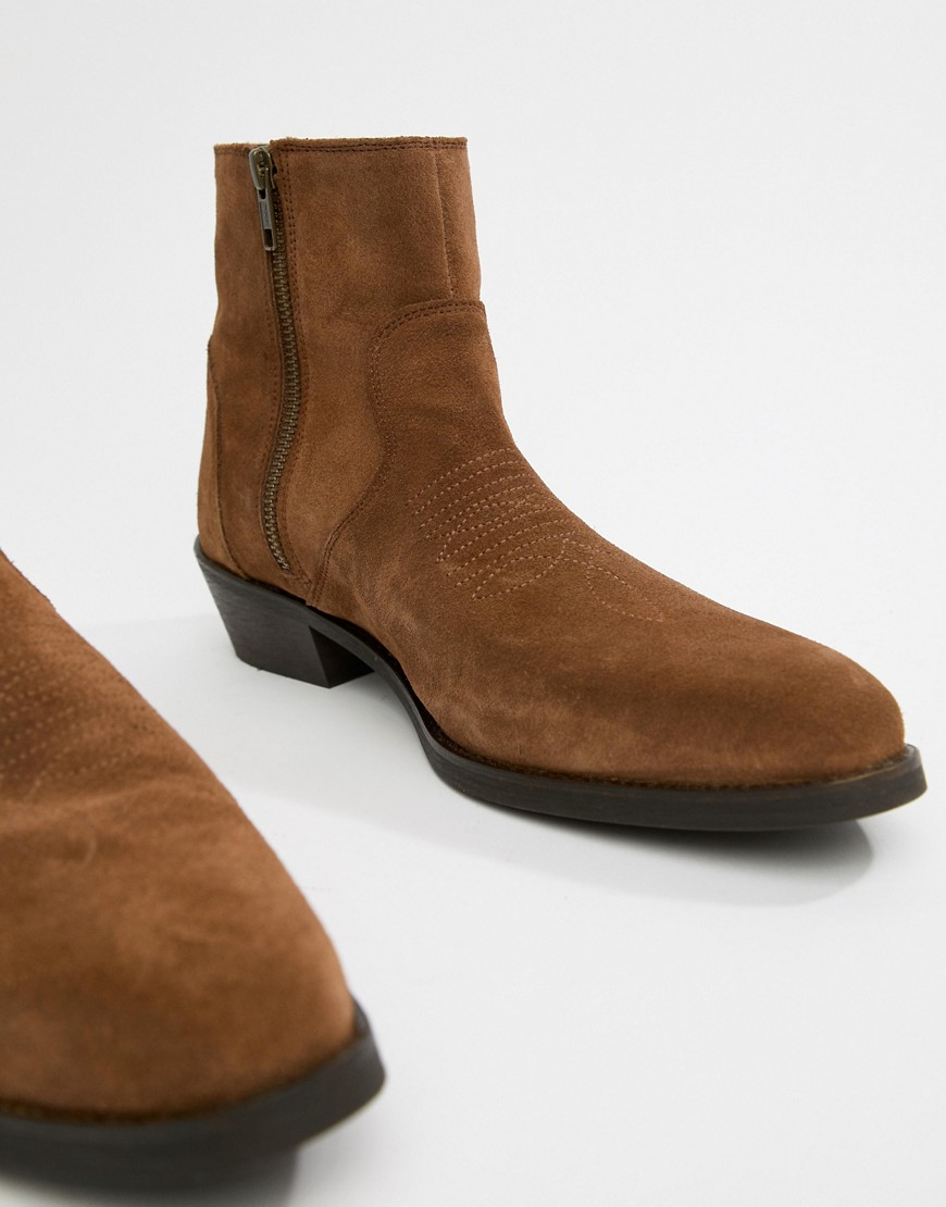 Asos Design Cuban Heel Western Boots In Tan Suede With Stitch Detail by Asos Design