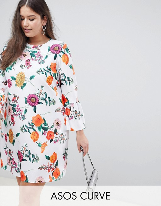 Curve Botanical With Sleeves Asos Shift Design Dress Fluted 5qSEF