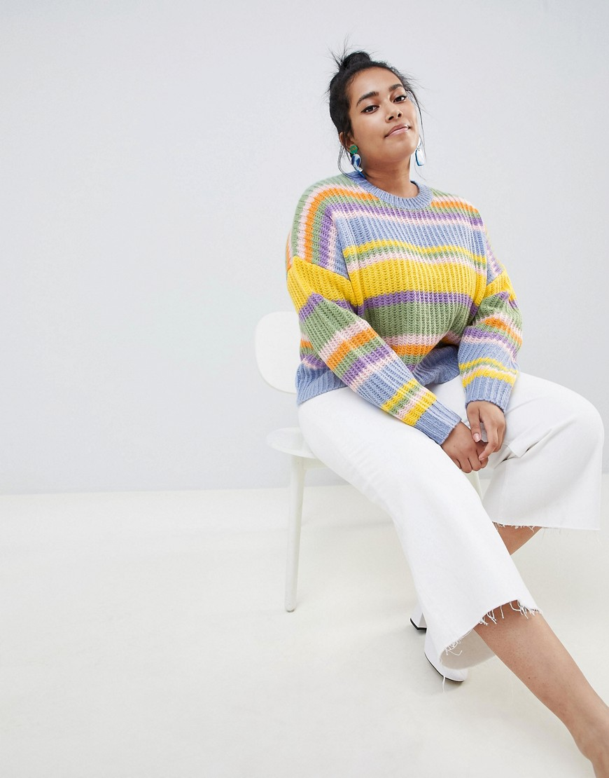 Asos Design Curve Cropped Sweater In Stripe by Asos Design