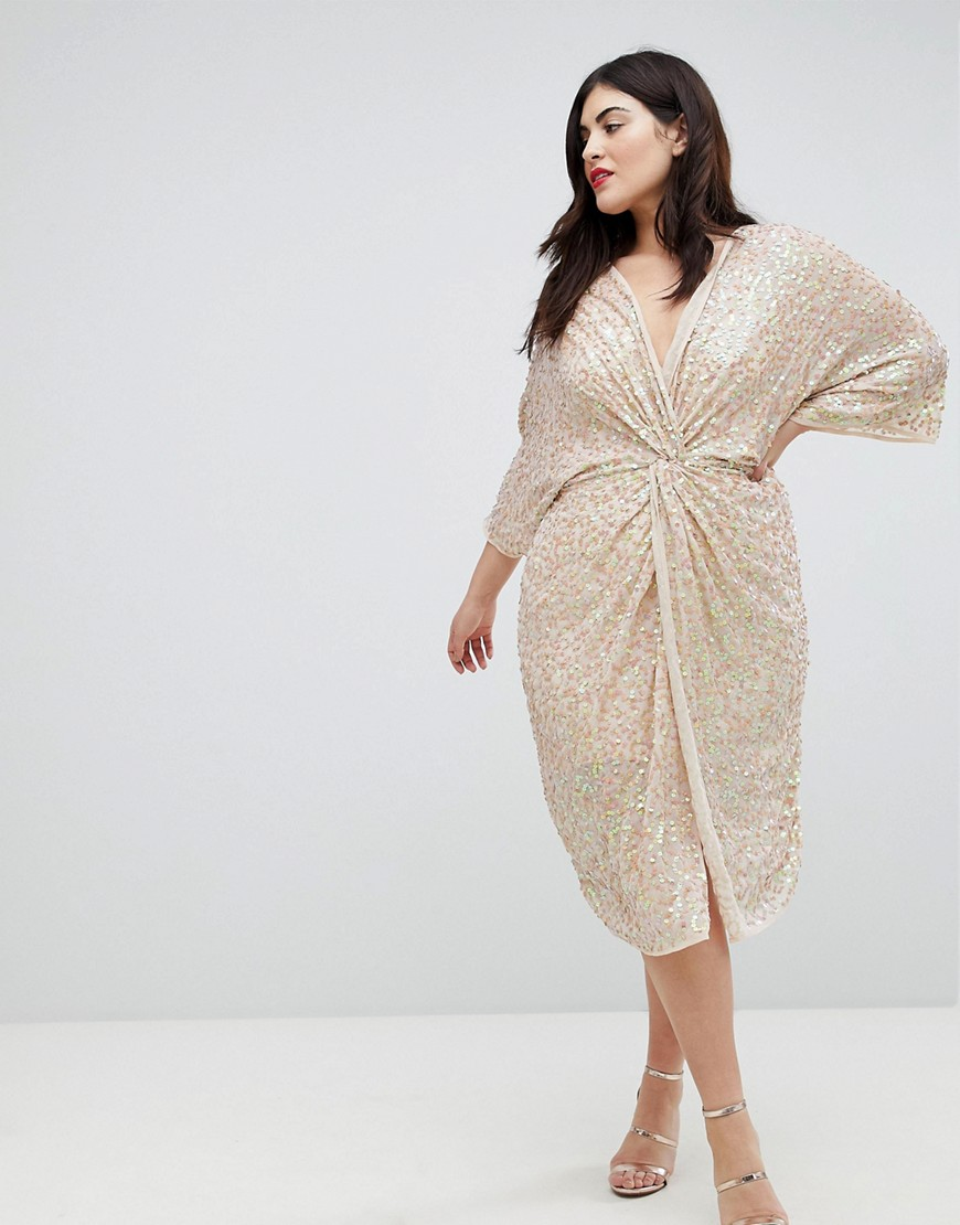 Asos Design Curve Embellished Sequin Kimono Midi Dress by Asos Design