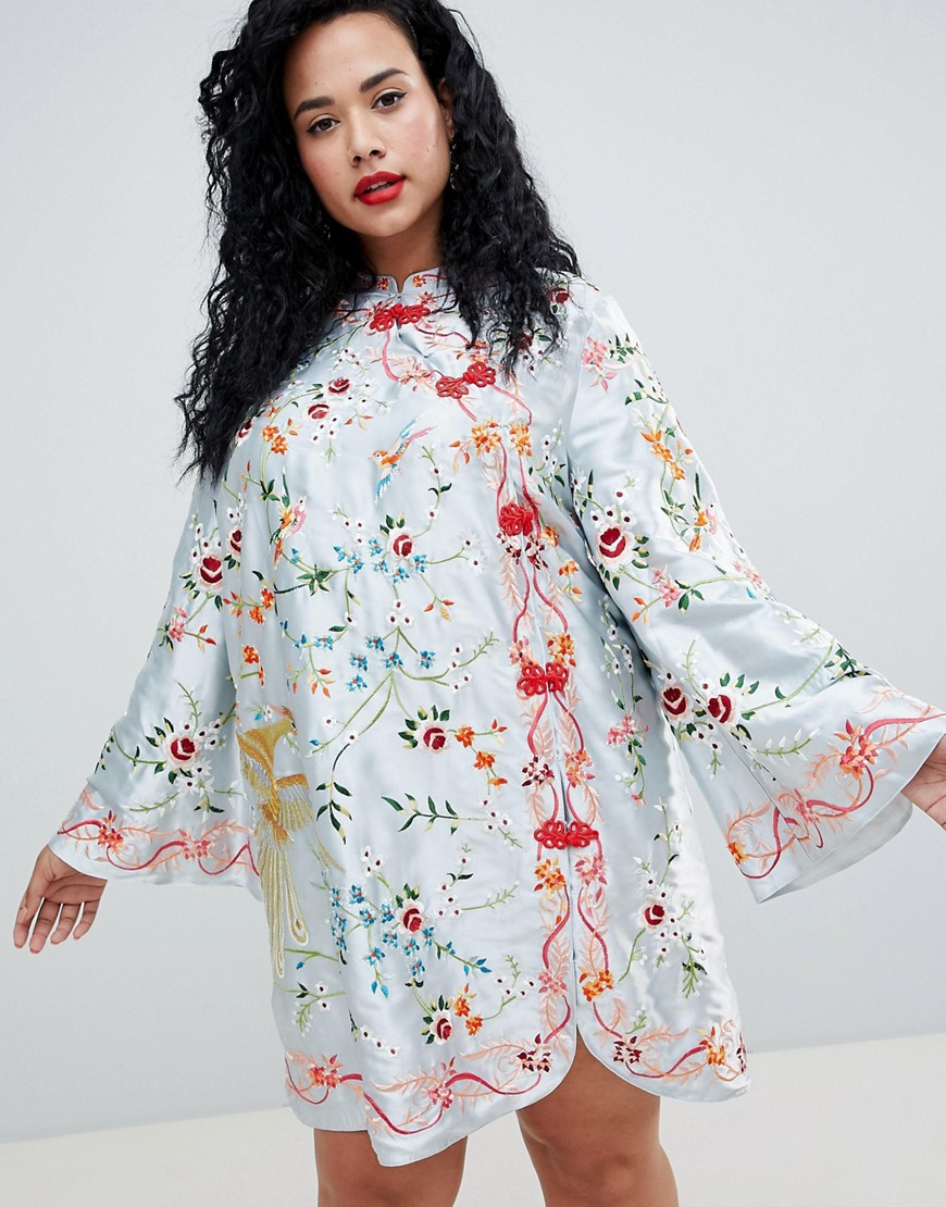 Asos Design Curve Embroidered Mini Column Dress With Flared Sleeve by Asos Design