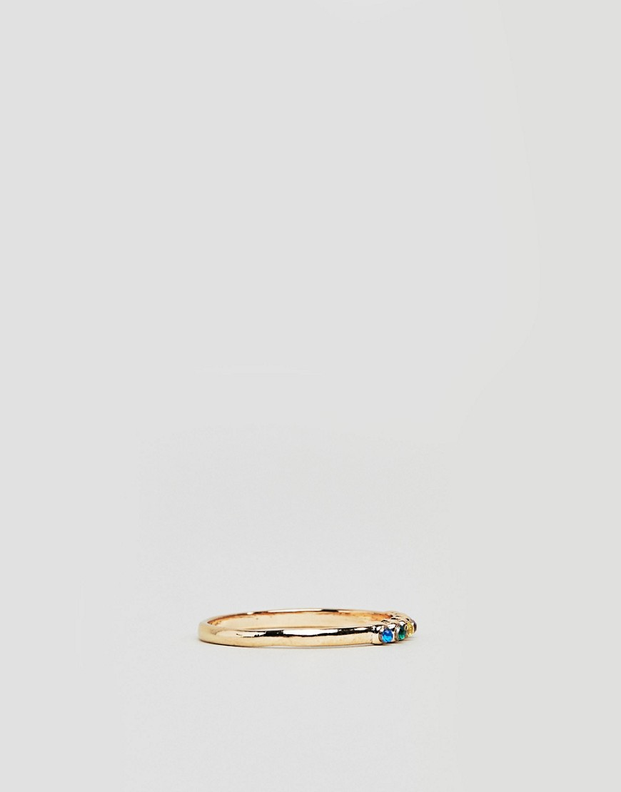 Asos Design Curve Exclusive Pack Of 3 Rings With Multicolor Jewels In Gold by Asos Design