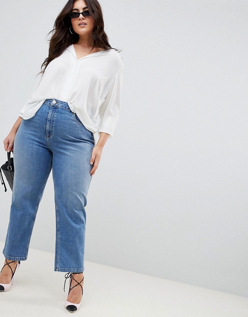 Asos Design Curve Farleigh High Waist Straight Leg Jeans In Stone Wash Blue by Asos Design