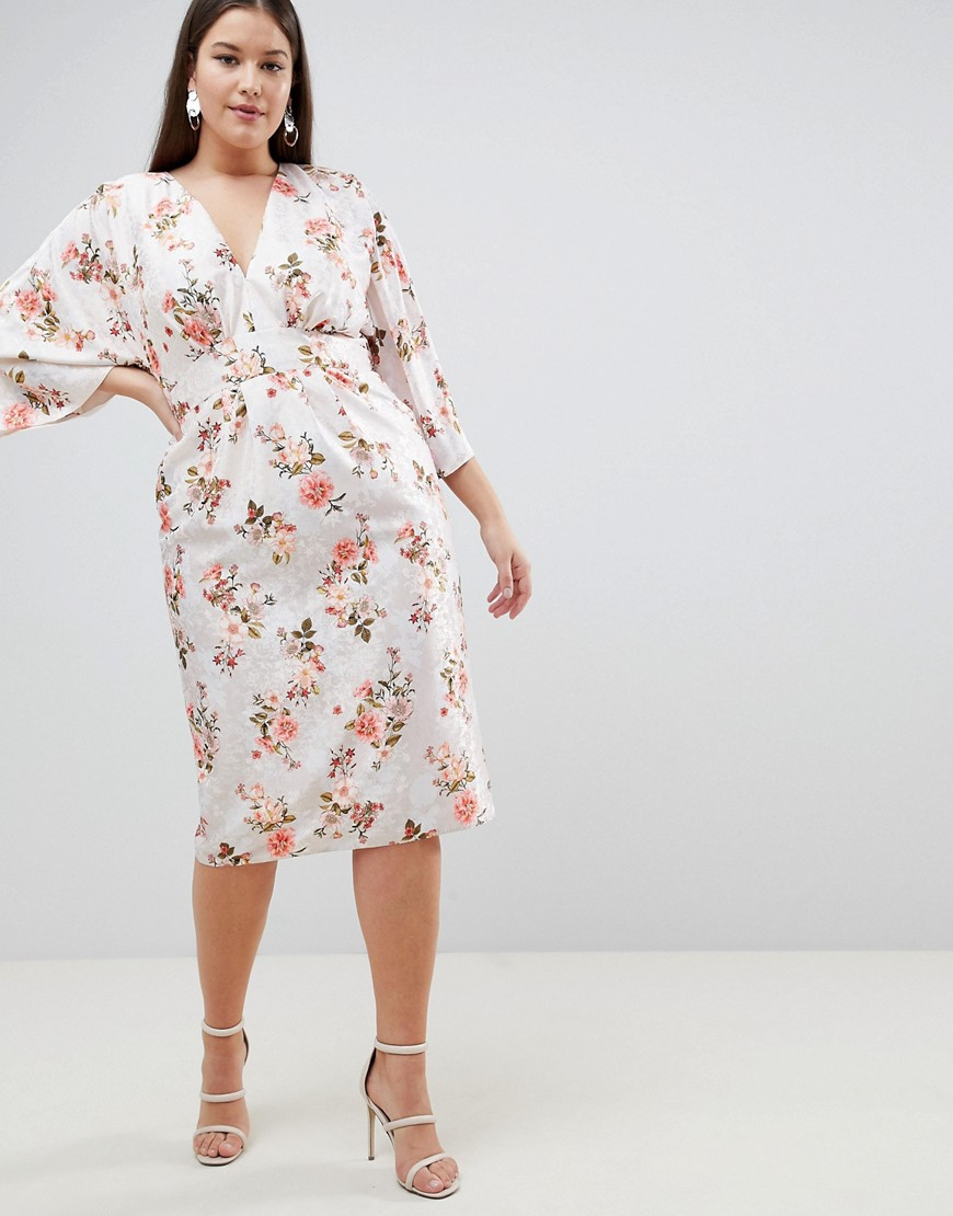Asos Design Curve Kimono Midi Dress In Printed Floral Jacquard by Asos Design