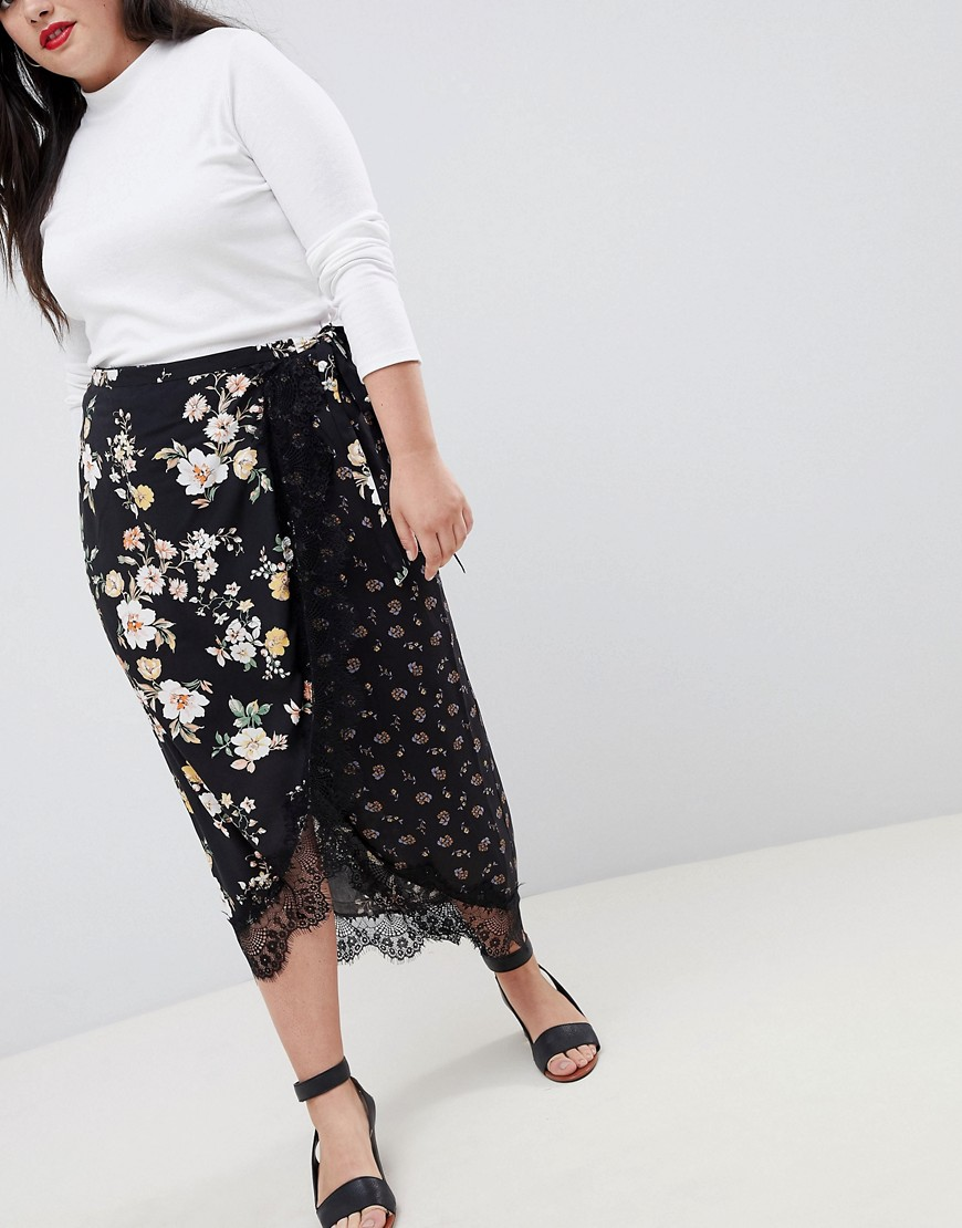 Asos Design Curve Mixed Ditsy Floral Wrap Midi Skirt With Lace Trim by Asos Design