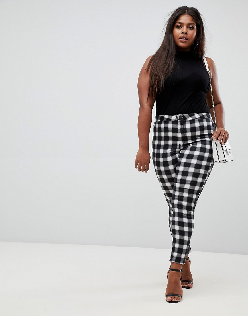 Asos Design Curve Rivington High Waisted Jeans In Blur Gingham Mono Print by Asos Design