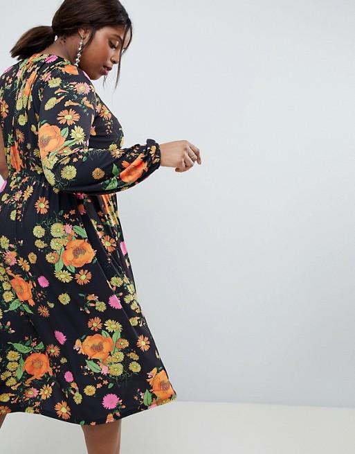 ASOS Curve - ASOS DESIGN Curve - Robe mi-longue asymétrique à manches ballon et imprimé floral