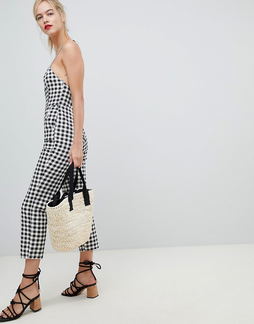 Asos Design Denim Jumpsuit With Strappy Back In Gingham by Asos Design