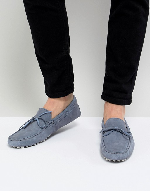 Front DESIGN With Tie Driving Shoes ASOS Blue In Suede 8RRYqw