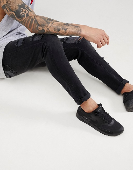 drop washed ASOS with heavy in rips DESIGN ASOS jeans crotch black WEYnwq1xF4