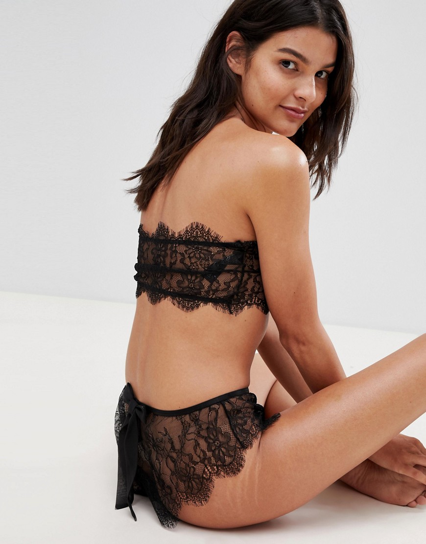Asos Design Eva Lace& Bow French Knicker by Asos Design