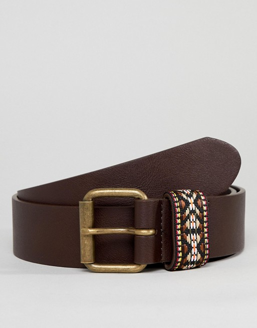 festival with brown belt ASOS tribal DESIGN embroidered in leather faux wide ASOS keeper geo EnzqACxqw