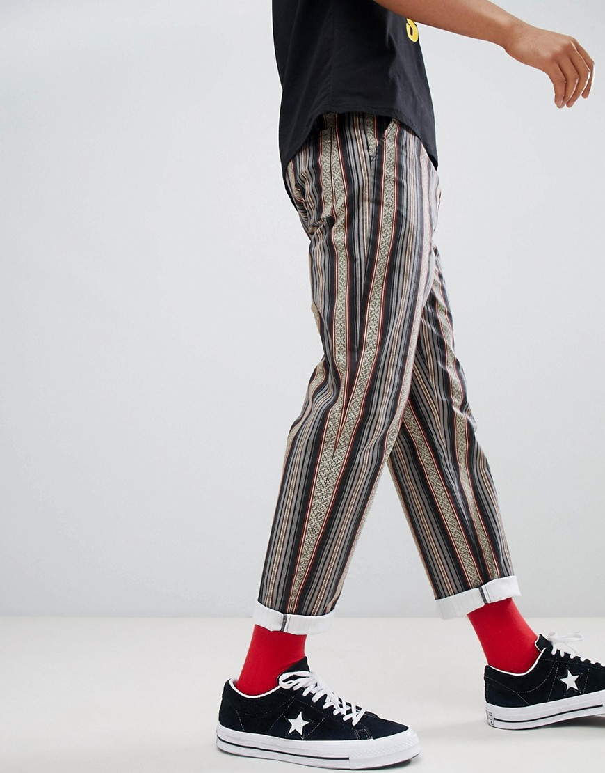 Asos Design Festival Straight Pants In Grey Aztec Print With Elasticated Waist by Asos Design