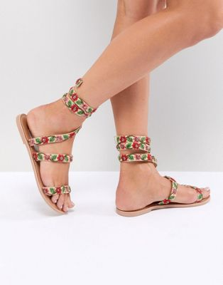 Image 1 of ASOS DESIGN Flowerbud Flat Sandals