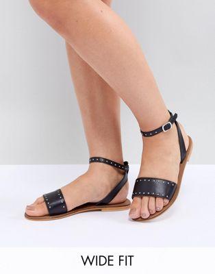 Image 1 of ASOS DESIGN Freja Leather Wide Fit Studded Flat Sandals