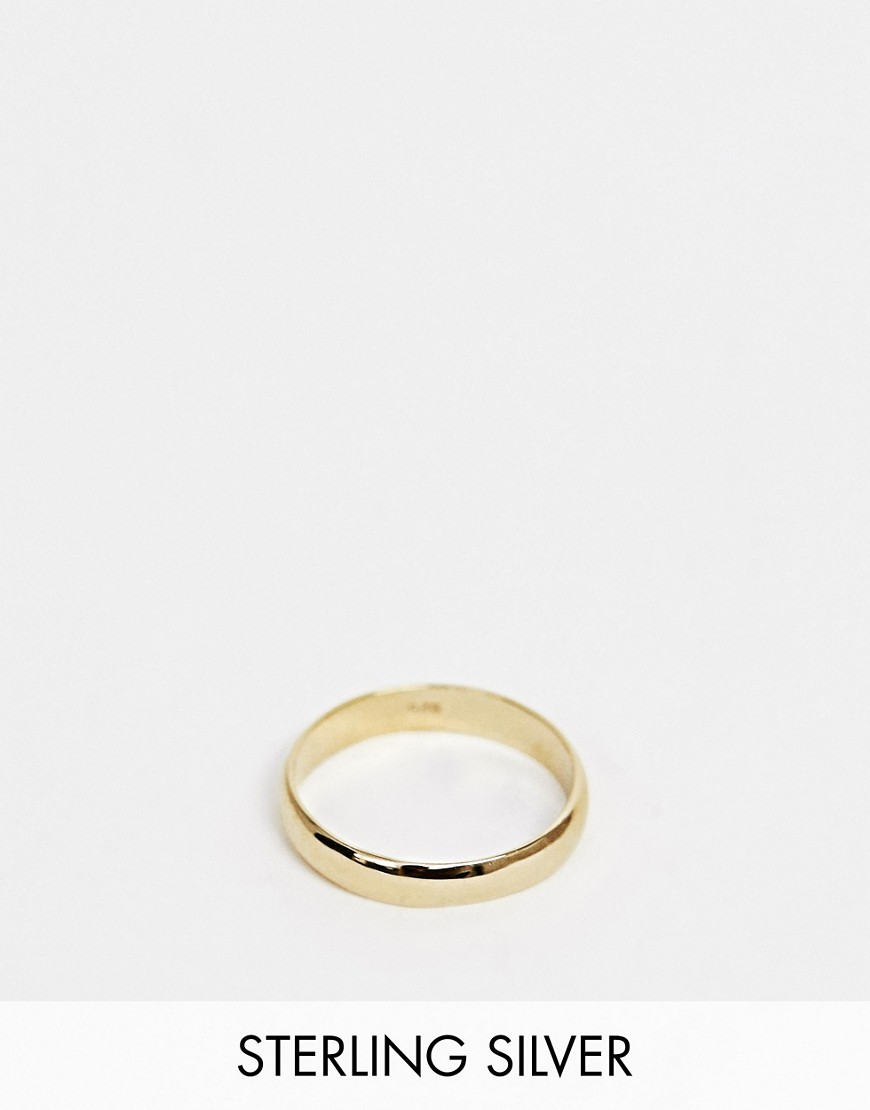 Asos DESIGN gold plated sterling silver sleek thick band ring - Gold HgvOR7
