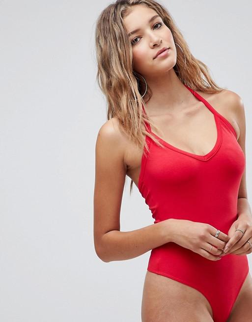 Asos Design In Red Halter Body OpxnnHCqYw