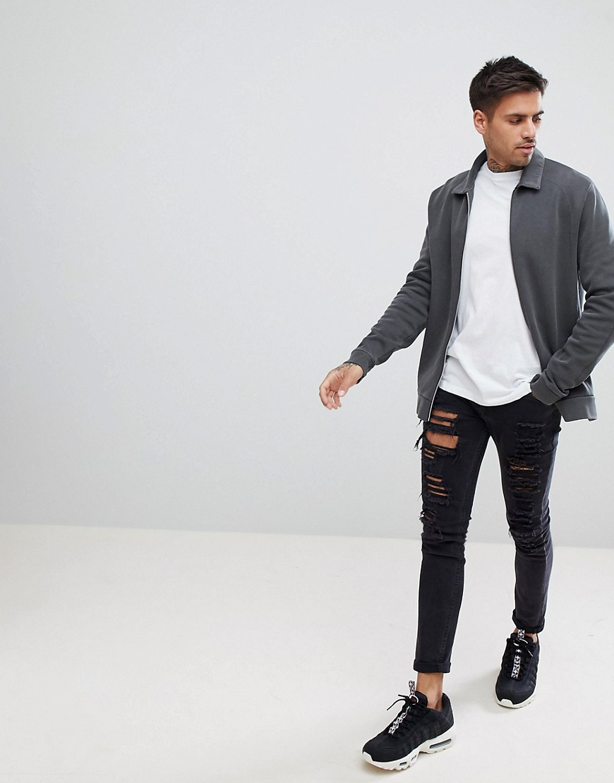 Asos Design Harrington Jacket In Washed Black Pique by Asos Design