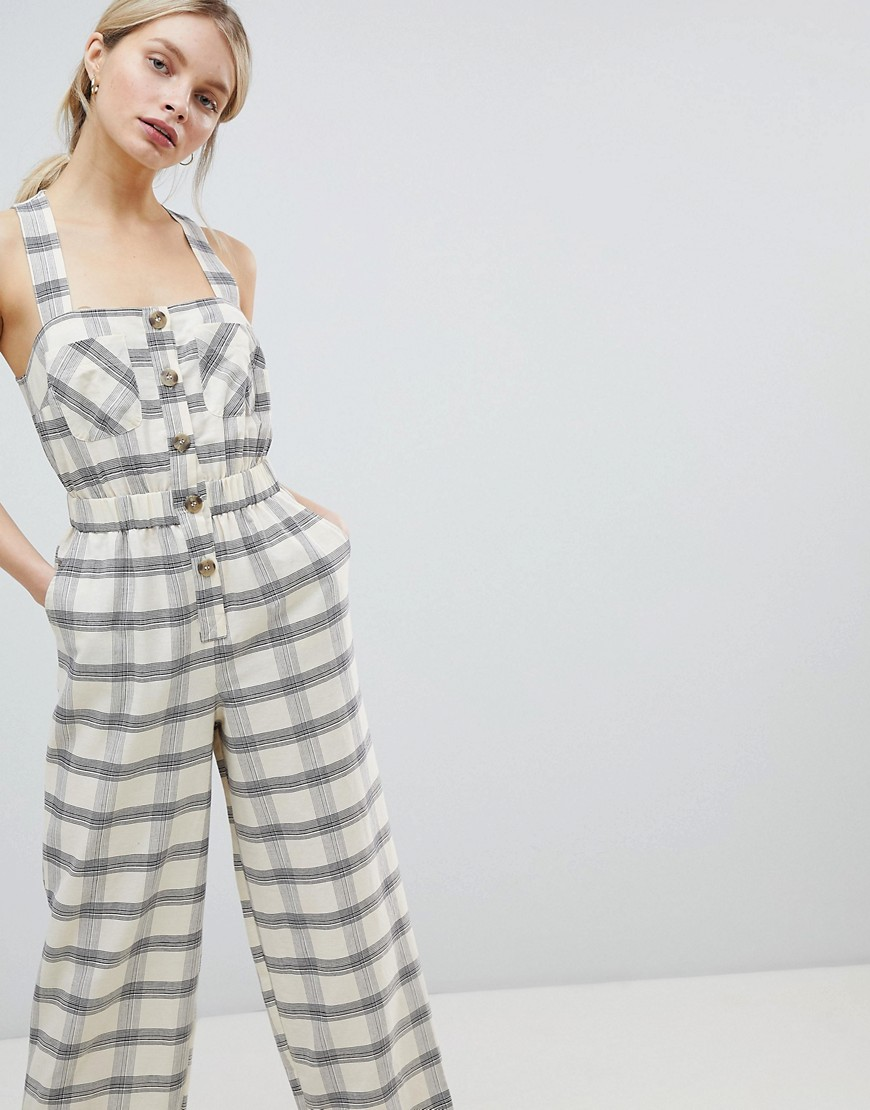 Asos Design Jumpsuit With Elasticated Waist And Button Detail In Check by Asos Design