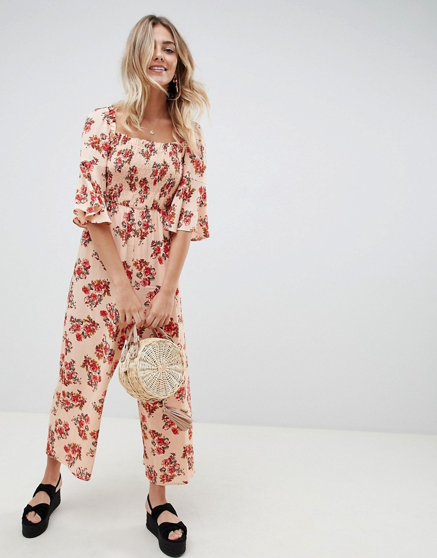 Asos Design Jumpsuit With Shirred Bodice In Ditsy Floral Print by Asos Design