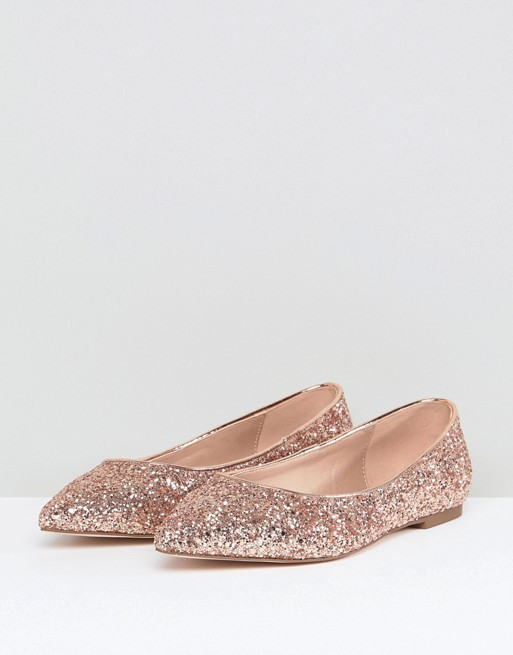 Pointed Fit ASOS Flats Ballet DESIGN Wide Latch WqqHST