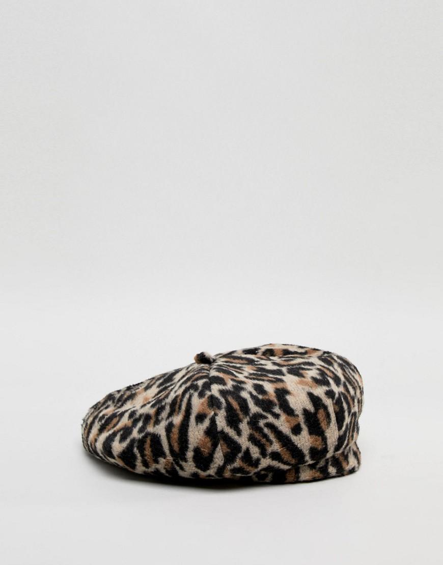 Asos Design Leopard Print Beret by Asos Design