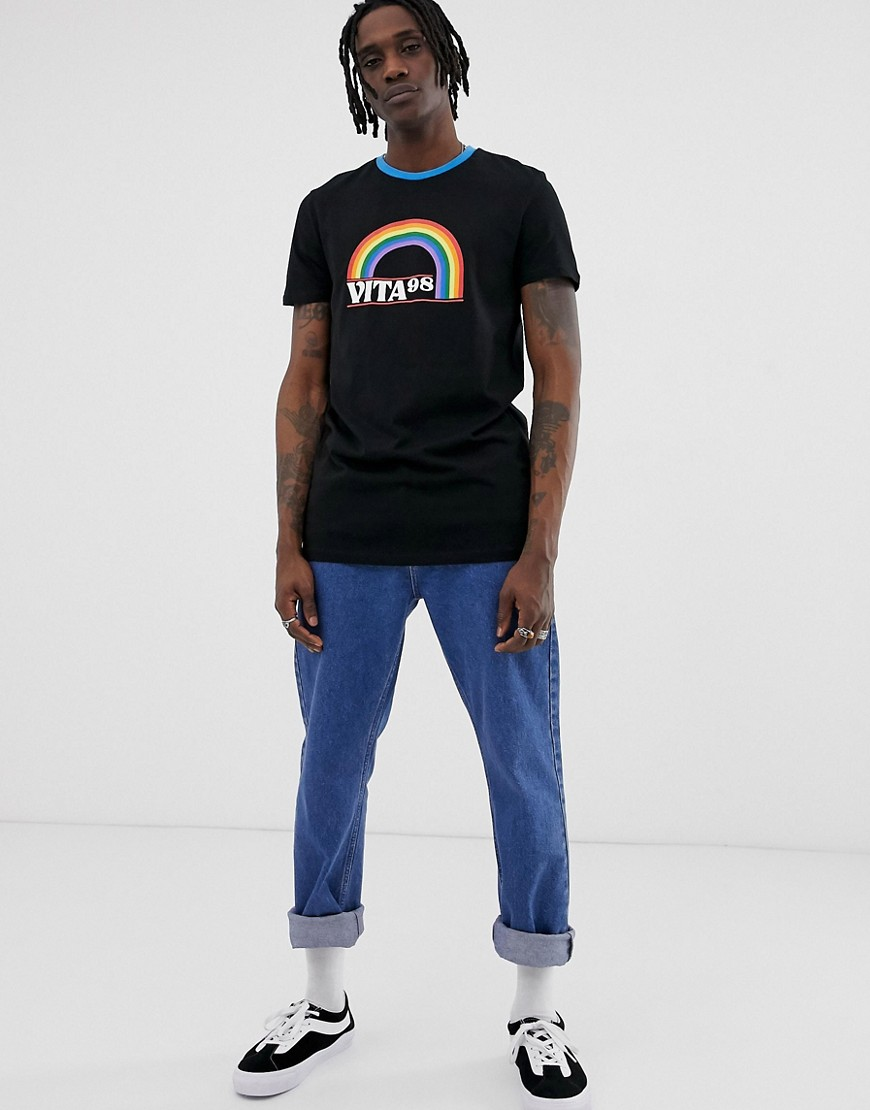 DESIGN longline t-shirt with rainbow print and contrast neck - Black Asos