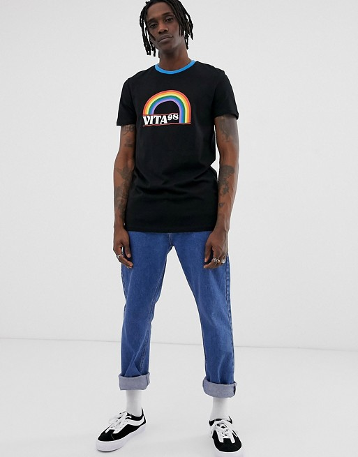 DESIGN longline t-shirt with rainbow print and contrast neck - Black Asos Discount Visa Payment Shop Online EdxOG