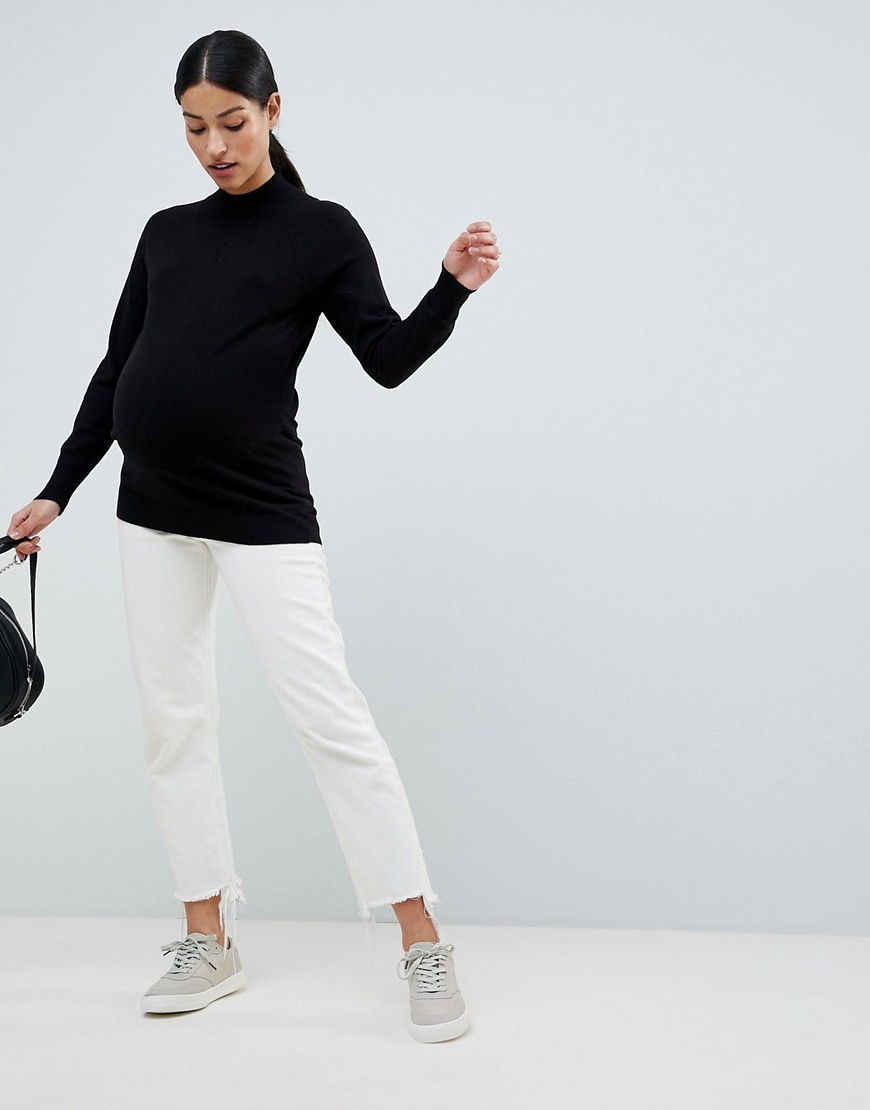 Asos Design Maternity High Neck Sweater In Fine Knit by Asos Design