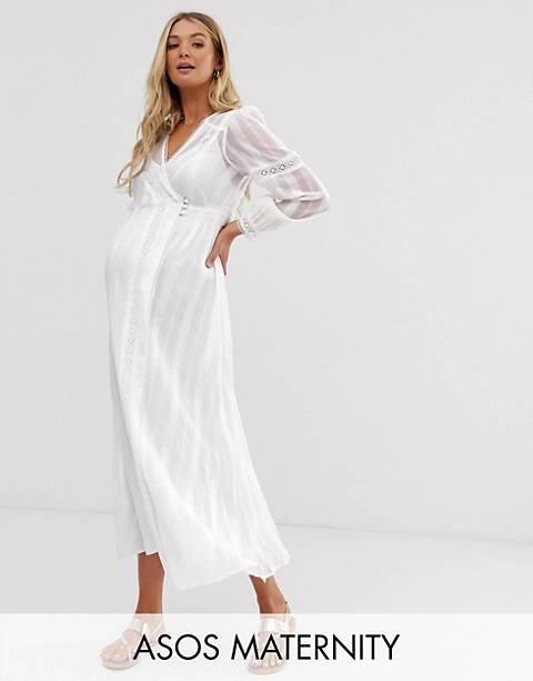 ASOS DESIGN Maternity lace insert wrap maxi dress