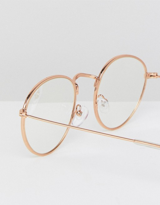 clear lens round ASOS glasses metal DESIGN ASOS gold with in Fp10Ynt