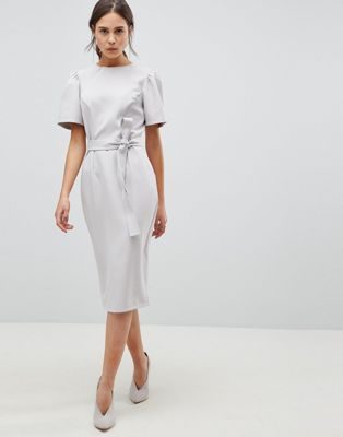 Image 1 of ASOS DESIGN midi pencil dress with belt